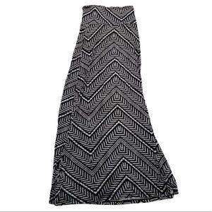 Full Tilt | Black and White Printed Maxi Skirt